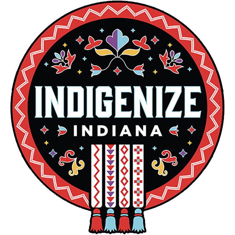 "Decorative ""Indigenize Indiana"" logo."