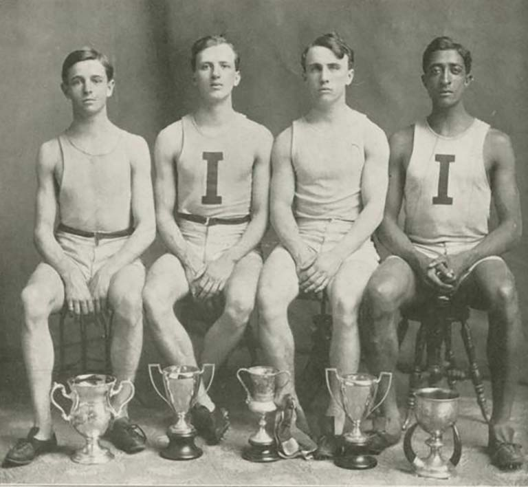 1906 IU track relay team members; Fred Seward is second from left. Photo from IU Archives (image #P0030288).
