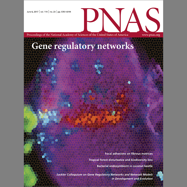Cover of PNAS, vol. 114, no. 23, 2017, showing gene regulatory networks referencing Justin Kumar's article.