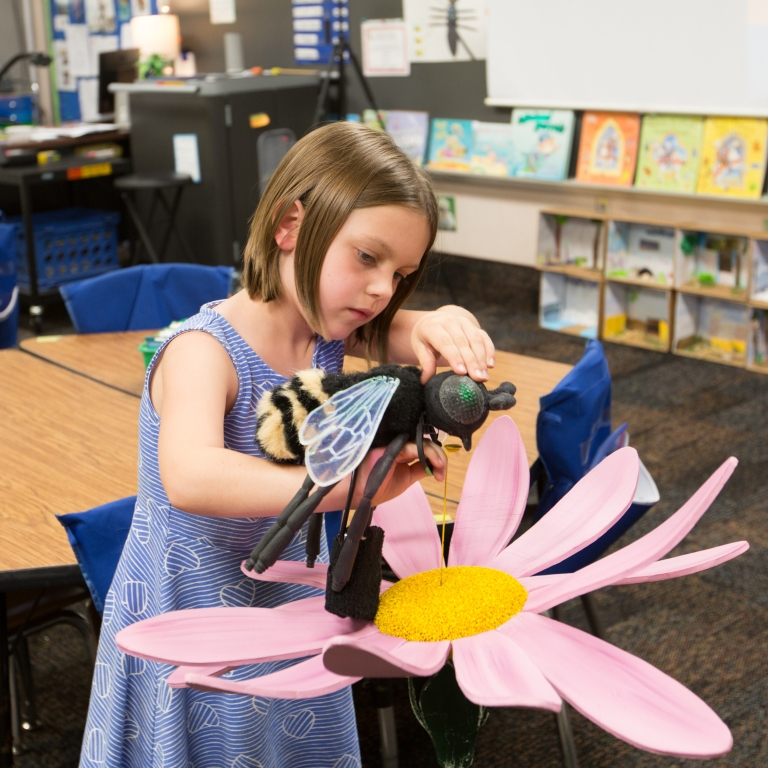 A first-grader at Clear Creek Elementary presses a bee-shaped puppet against a sensor in the form of a large pink daisy.