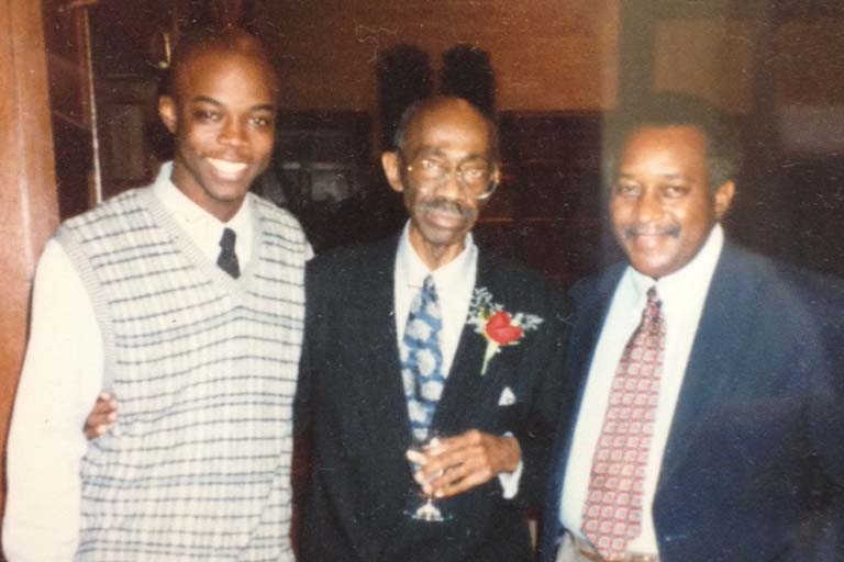 Antiño Allen (left), Allen's mentor Jim Holland (center), and Vernon Archer; ca. 1998.