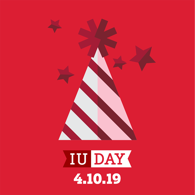 A red-and-white party hat symbolizes the IU Day celebration on April 10, 2019.