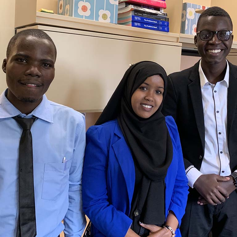 2019 IU Summer Research Program participants Erick Wabwire, Batula Robow, and Jonah Masika from Moi University in Kenya.