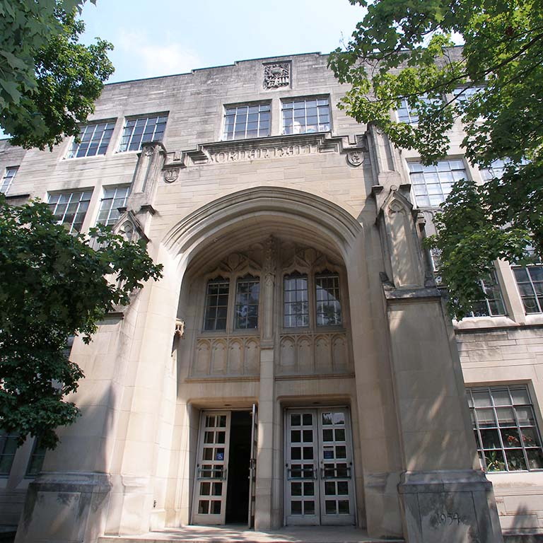 South entrance of Jordan Hall on the Indiana University Bloomington campus, 2005.