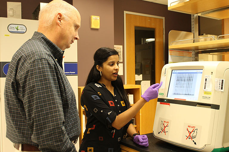 John Patton and Asha Philip discuss a display of rotavirus genetic material generated in the laboratory.