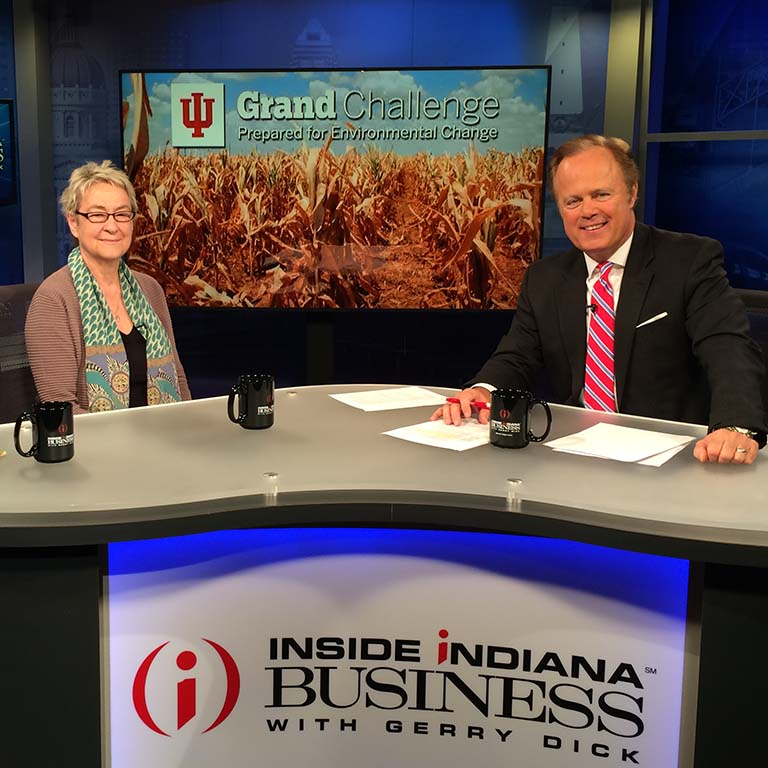 Ellen Ketterson with Gerry Dick on TV program Inside Indiana Business with Gerry Dick