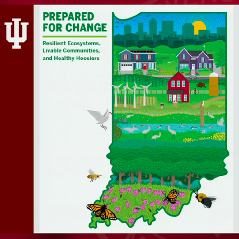 Prepared for Change:  Resilient ecosystems, livable communities, and health Hoosiers:  Indiana map outline filled with drawings of city scape, homes, farms, wetlands, wind energy farm, and birds, flowers, and butterflies.