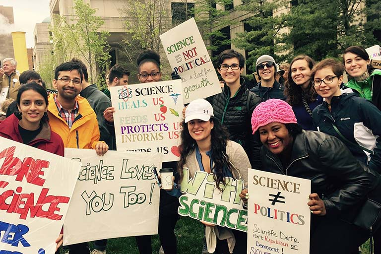 IU Biology students, researchers, and friends pose for a group picture at March for Science in Indianapolis on April 22, 2017.