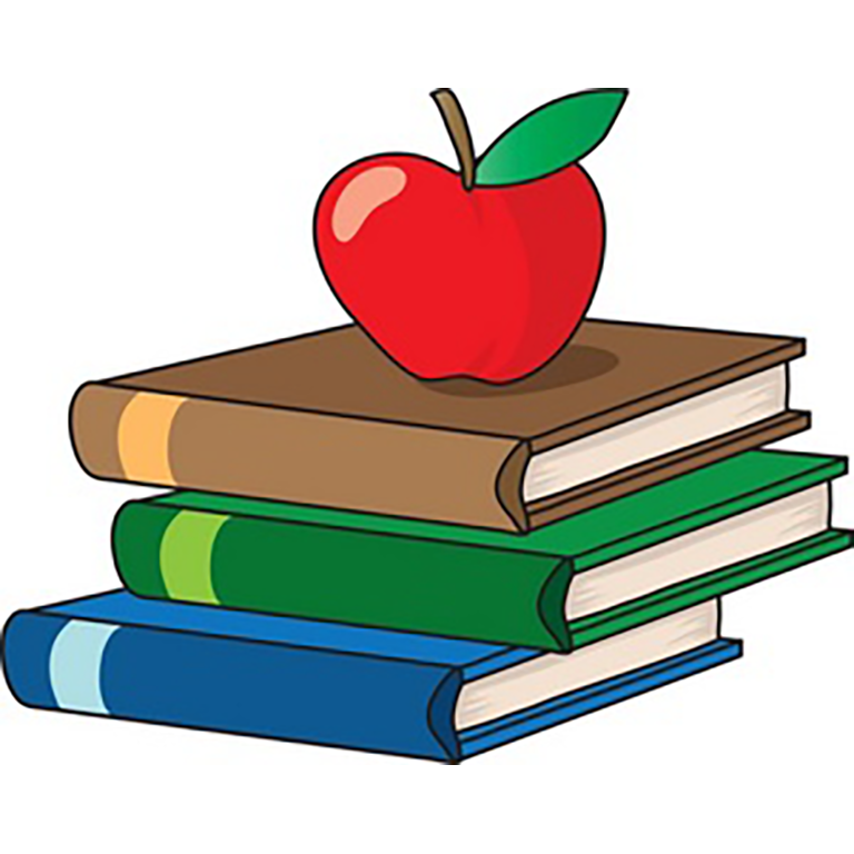 Drawing of apple on a pile of books.