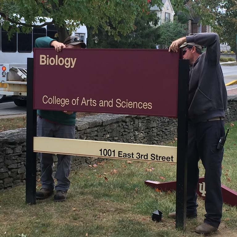 Two men slide a large red sign into place between two vertical posts. The sign reads: Biology, College of Arts and Sciences, 1001 East 3rd Street.  The sign is being installed in the lawn in front of the newly named Biology Building as traffic passes by along 3rd Street.