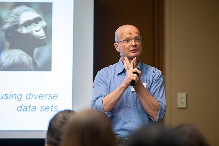 Professor Armin Moczek presenting the successful teaching module 'Human evolution' at the National Association of Biology Teachers conference in Chicago in November 2019.