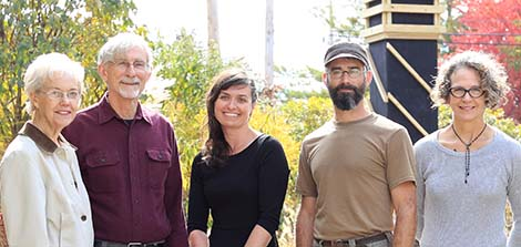 Left to right: Joan and Rob Hongen (Sassafras Audubon Society), Jessica Hite, Rusty Peterson (artisan who built the tower), and Karen Jepson-Innes (Associate Executive Director, WonderLab) pose in front of the newly erected swift tower at WonderLab museum in Bloomington, Indiana, October 2015. Photo by Eric Rudd, Indiana University